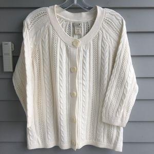 L.L.BEAN Ivory Cardigan Sweater Sz.M Mint